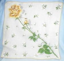 Yellow Sweetheart Rose Hankie White Cotton Vintage Retro 1950s