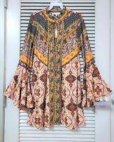 berry mix print trumpet slev dress w/ tie neck M  / anthropologie earrings