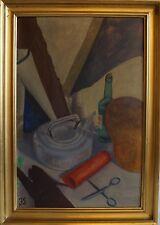 JARNE GISSEL (1922) STILLEBEN MIT SCHERE, KANNE UND FLASCHE - NEUSACHLICH