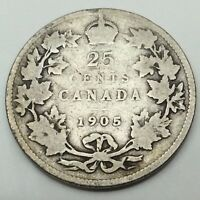 1905 Canada Twenty Five 25 Cents Quarter .925 Silver Canadian Coin C247