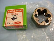 """New 1-3/8-6 NC Hexagon HSS Re-Threading Die 2-3/8"""" Size Hex x 1"""" Thickness"""