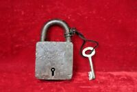 Old Vintage Antique Iron Brass Lock and Key Padlock Collectible BG65