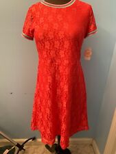 Wonder Nation Girls Fashion Red Lace Dress. Size Xl/ Xg-(14-16) Rainbow Trim Nwt