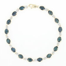 "Sapphire & Diamond Tennis Bracelet 7"" - 14k Yellow Gold Oval 9.68ctw"