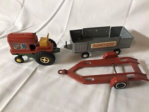 Lot Toy Metal Ted Farm Tractor Trailer Japan Vintage