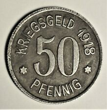 Kriegsgeld der Stadt Leer / Ostfriesland 50 Pfennig 1918 - Wappen - vz / xf