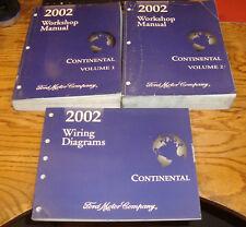 Original 2002 Lincoln Continental Shop Service Manual 1 2 + Wiring Diagrams Set