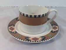 Eddie Bauer New Horizon - Tan Pattern Flat Cup & Saucer Set