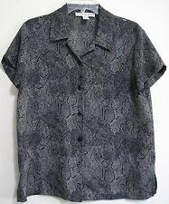 Josephine Chaus Black Snake Skin Womens Size 8 Button Polyester Shirt Blouse