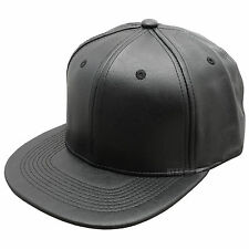 NEW LEATHER SNAPBACK CAP BLACK PLAIN BASEBALL HIP HOP ERA FITTED FLAT PEAK HAT