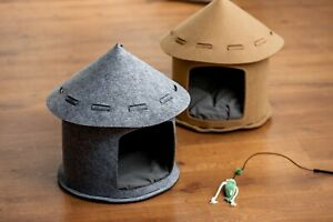 Cat house cat tent /small dog house kennel with cushion assembled house Grey