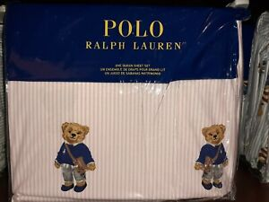 New 2020 Version Polo RL Female Polo Bear Sheet Set In Pink Oxford Stripe