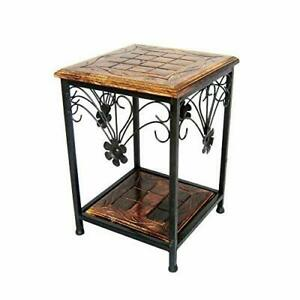 Wooden and Wrought Iron Side End Coffee Table For Living Room Furniture