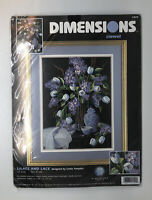 Dimensions 1529 Lilacs And Lace Crewel Embroidery Kit 2001 USA Vtg New Sealed