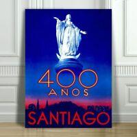 """VINTAGE TRAVEL CANVAS ART PRINT POSTER - Santiago Chile 400 Anos Statue -18x12"""""""