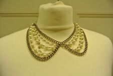 Topshop Pearl & Chain, Peter Pan Collar, Statement Choker Necklace