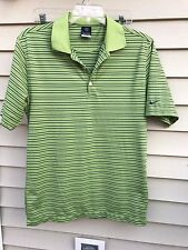 NIKE FIT DRY GREEN W/ NAVY STRIPED POLO SHIRT SIZE M