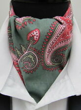 Mens Sage Green & Pink Paisley Design Ascot Cravat & Pocket Square - Made in UK