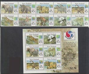 (F12-20) 1995 NZ booklet of 10stamps &M/S animals (T)