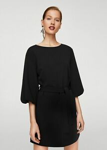 Mango Belted Balloon Sleeve Short Dress Black Size 12 Relaxed Fit Bnwt