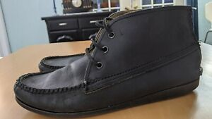 Mens Quoddy Made in Maine Handsewn Deck Chukka Boots Black Horween CXL sz 9D
