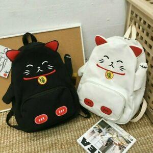 Women Girl Cat Bag Backpack Lolita Japanese Student School Kawaii Canvas H1