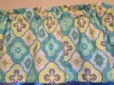 Geometric Blue Green Gray Quatrefoil Bedroom Window Valance Curtain Decor