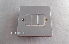 10amp 3 Gang commutateur chrome poli plat plaque G.E.T. ultimate triple commutateur