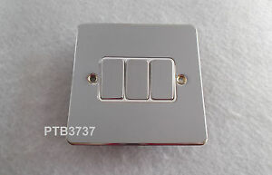 10AMP 3 GANG SWITCH POLISHED CHROME FLAT PLATE G.E.T. ULTIMATE TRIPLE SWITCH