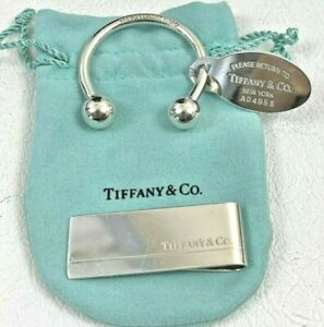 Tiffany & Co 925 Sterling Silver Money Clip & Return to Tiffany Keychain