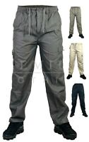 New Mens Elasticated Trousers Cargo Combat Lightweight Work Pant Bottoms Trouser
