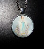Blessed Virgin Mary crystal charm pendant necklace 925 Sterling Silver chain n43