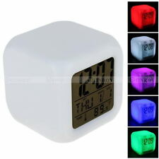 7 Color LED Glowing Change Digital Alarm Clock Thermometer Desktop Clock