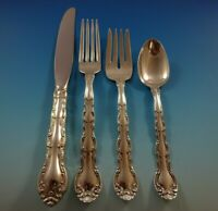French Scroll by Alvin Sterling Silver Flatware Set For 12 Service 48 Pieces