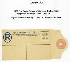 Barbados 1888 De La Rue 1d Pink Registered Letter Envelope Unused