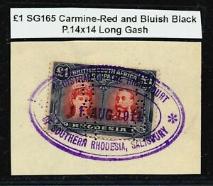 RHODESIA BSAC DOUBLE HEADS £1 PERF.14 USED ON PIECE AS FISCAL.SUPERB SHADE #B185