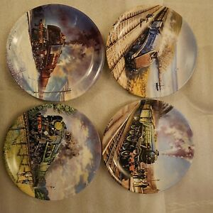 Full set of 8 Davenport steam train plates; Bradford Exchange.