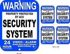 Aluminum YARD SIGN & 4 Vinyl Window Security Decals Video Surveillance Alarm
