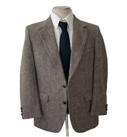 Vintage Stafford Harris Tweed Men S Blazer Jacket Sport Coat Brown Herringbone