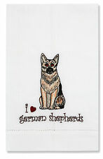 I Love German Shepherds Dog Tea Towel Embroidered Rescue Me Bow Wow CLOSE OUT
