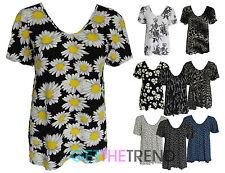 Womens Loose Swing Dress Top Ladies Floral Print Baggy Top Size 10 - 24 Plus