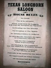 """(433L) OLD WEST SALOON TEXAS LONGHORN HOUSE RULES POSTER 11""""x17"""""""