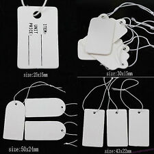 100/500Pcs Paper Jewelry Clothes Label Price Tags Swing With Elastic Tied String