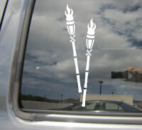 Tiki Torches - Hawaii Island - Auto Window Quality Vinyl Decal Sticker 05008