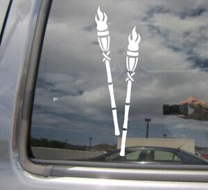 Tiki Torches - Hawaii Island - Auto Window Quality Vinyl Decal Sticker 05008