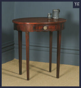 Antique English Georgian Regency Oval Flame Mahogany Occasional Hall Side Table