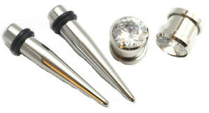 Pair Stainless Steel Tapers and Screw On CZ gem Plugs Ear Stretching Kit Gauges