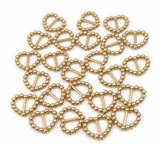 50 PEARLISED HEART SHAPED RIBBON SLIDER BUCKLES - GOLD FOR WEDDING INVITES