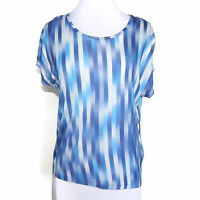& OTHER STORIES Blue Striped Short Sleeve Asymmetrical Short Sleeve Top size 4