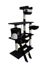 Kratzbaum schwarz weiss Katzenkratzbaum Spielrolle Katzenbaum 141cm Kletterbaum
